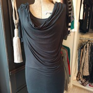Armani Exchange Drapey Viscose Double Layer Dress
